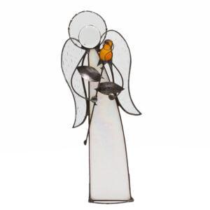 witraż anioł z różą