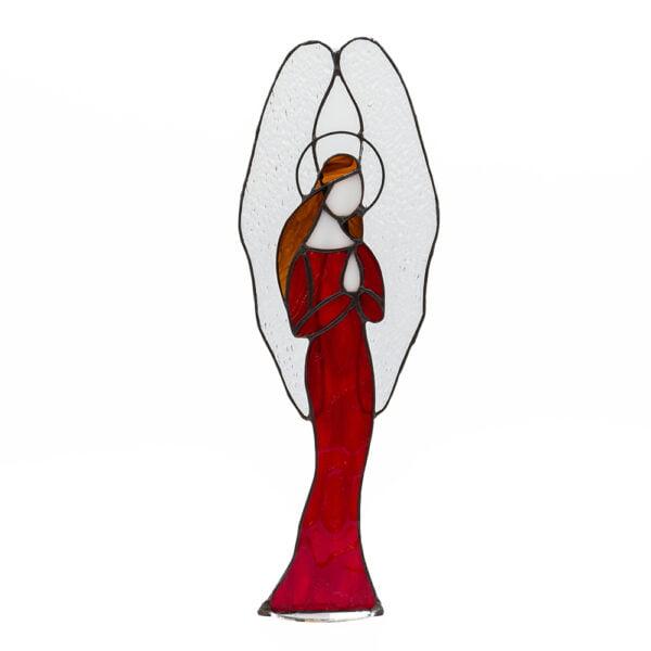witraż anioł czerwony