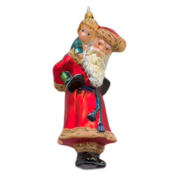 Mikołaj z dzieckiem na barana
