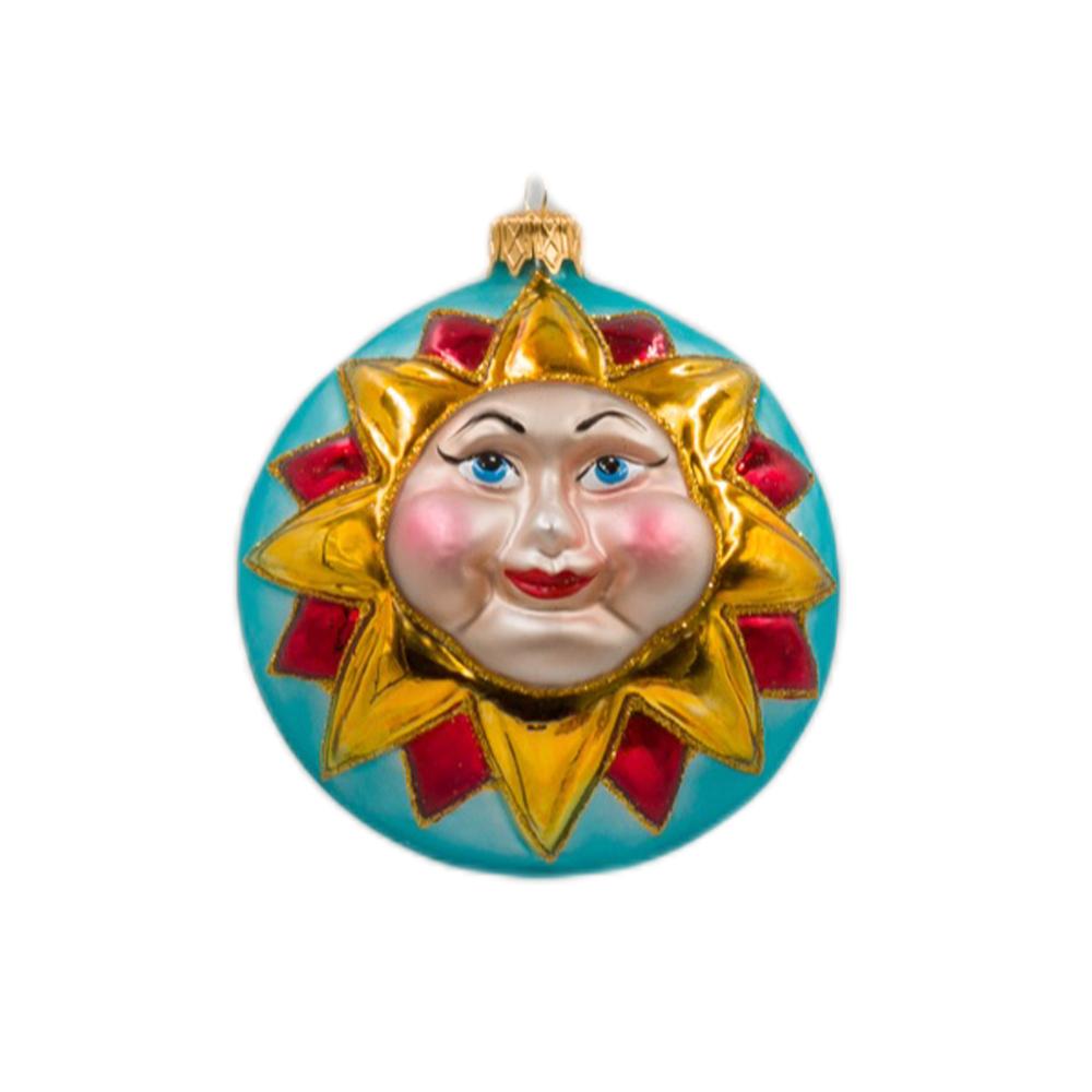 Bombka Słońce dwustronna, turkusowa
