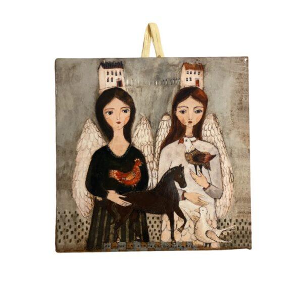 Dwa Anioły obraz ceramiczny