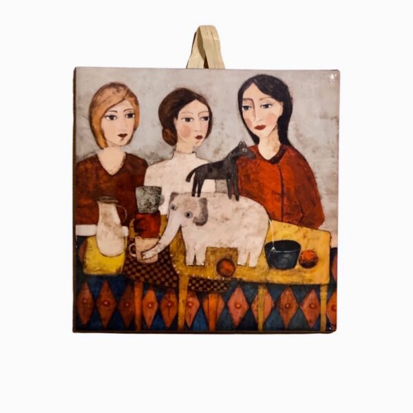 Trzy dziewczyny, kafelek ceramiczny